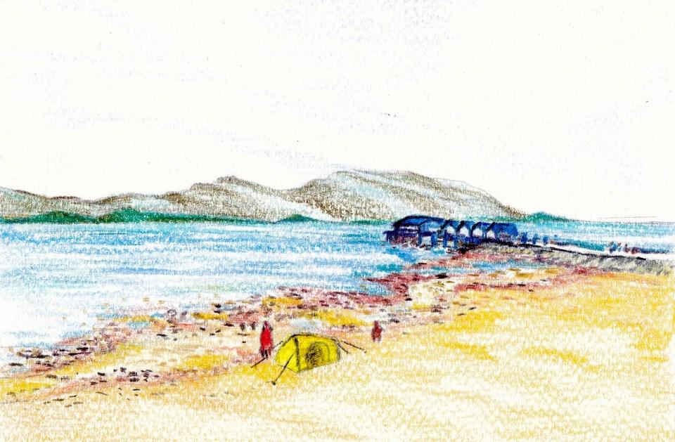 《馬鞍山海灘(木顏色)》木顏色 18cm x 12cm 8-4-2020(課堂示範)