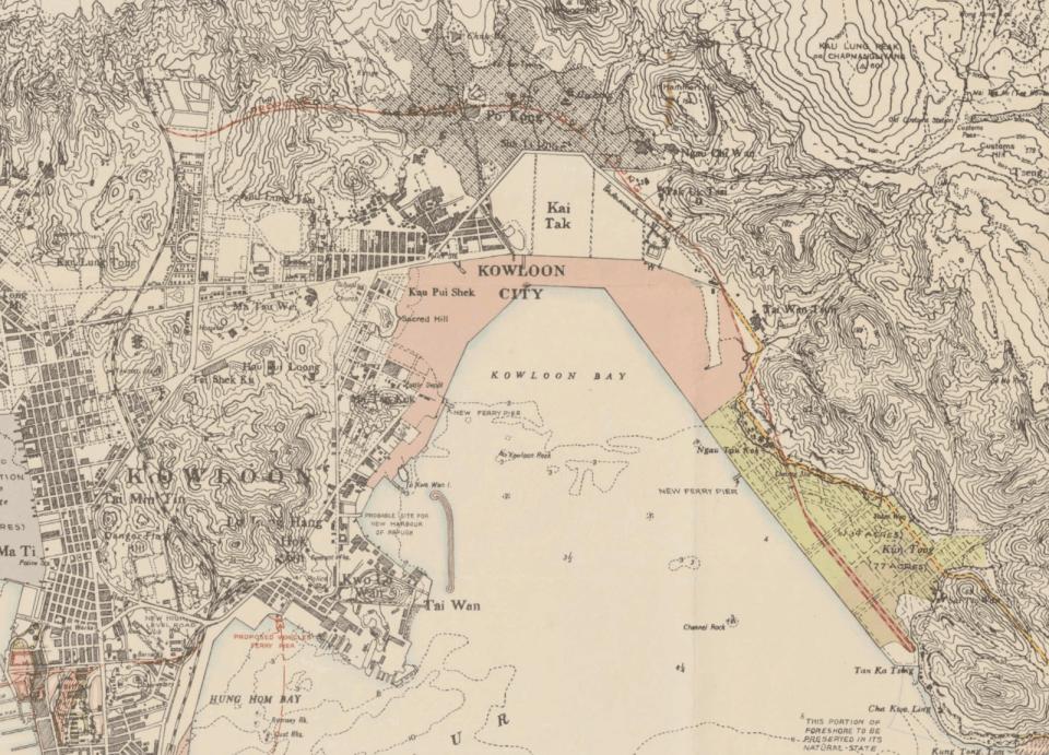 1941 年香港地圖,紅線為 40 年提出的新鐵路走線。(地圖來自 HK Maps 網站)