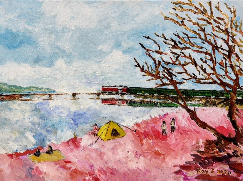 《馬鞍山海灘(油彩)》(課堂示範)油彩 40cm x 30cm 14-5-2020