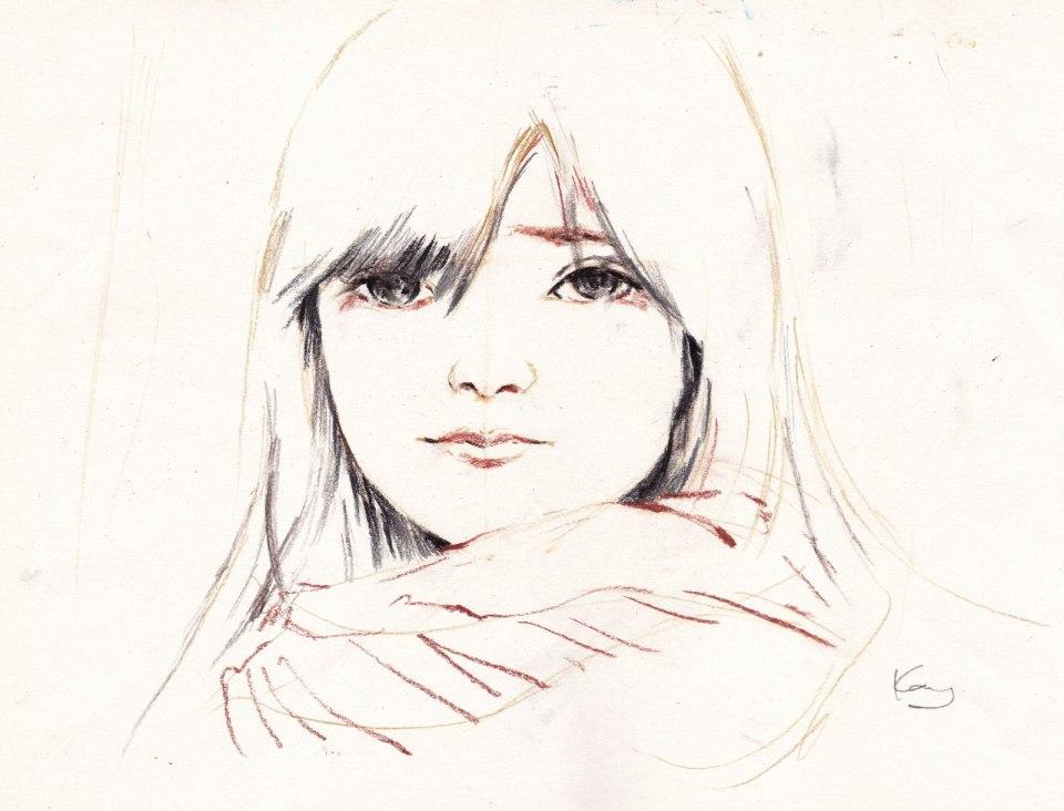 《學畫的女學生 2》碳筆 38.5cm x 29.4cm 22-8-2020