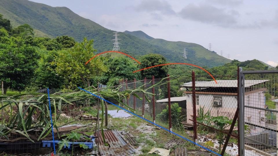 對照舊照片裏路軌位置(藍線)及山形(紅線)。