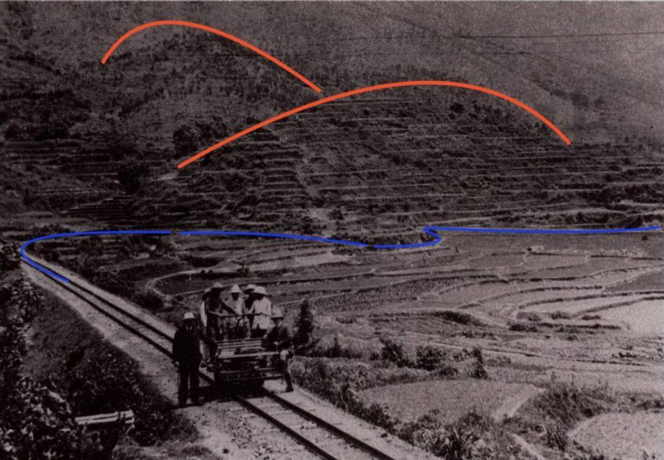 藍線:今天仍能找到的路基。據村民描述,拍攝者位置應該是禾坑站。(照片來自《The Shataukok Branch-A Study 1911-1928》)
