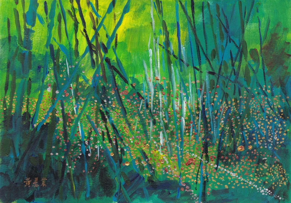 《綠林》(課堂示範)塑膠彩 38cm x 27cm 3-7-2021