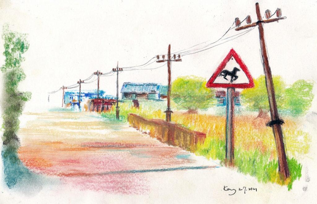《舊馬路》(課堂示範)粉彩 29cm x 19cm 4-7-2021