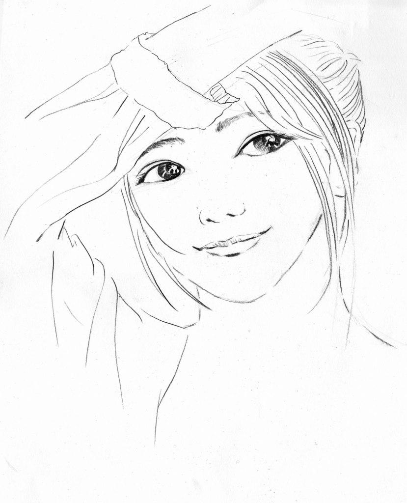 《少女速寫》(課堂示範)鉛筆 26cm x 32cm 22-7-2021