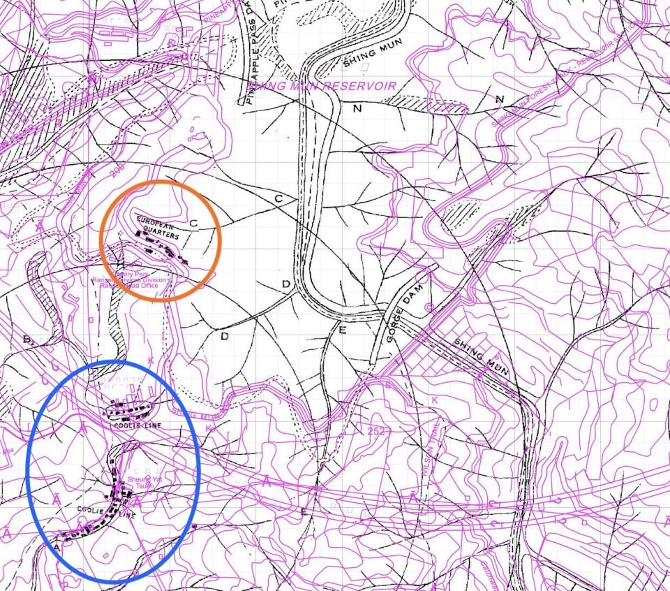 30 年代 European Quarters 及 Coolie Lines 位置(紫線為今天地圖)(Tymon 提供)。