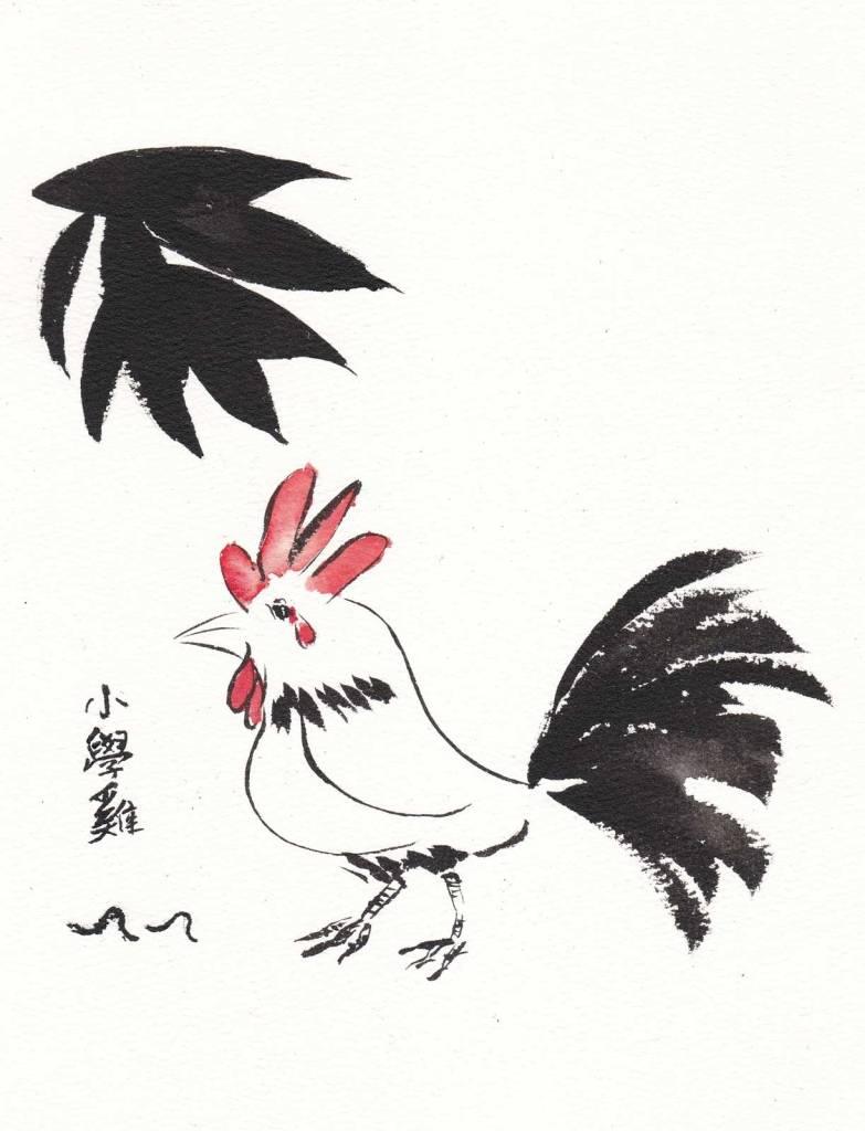 《小學雞》(課堂示範)水墨 18cm x 23cm 2-9-2021
