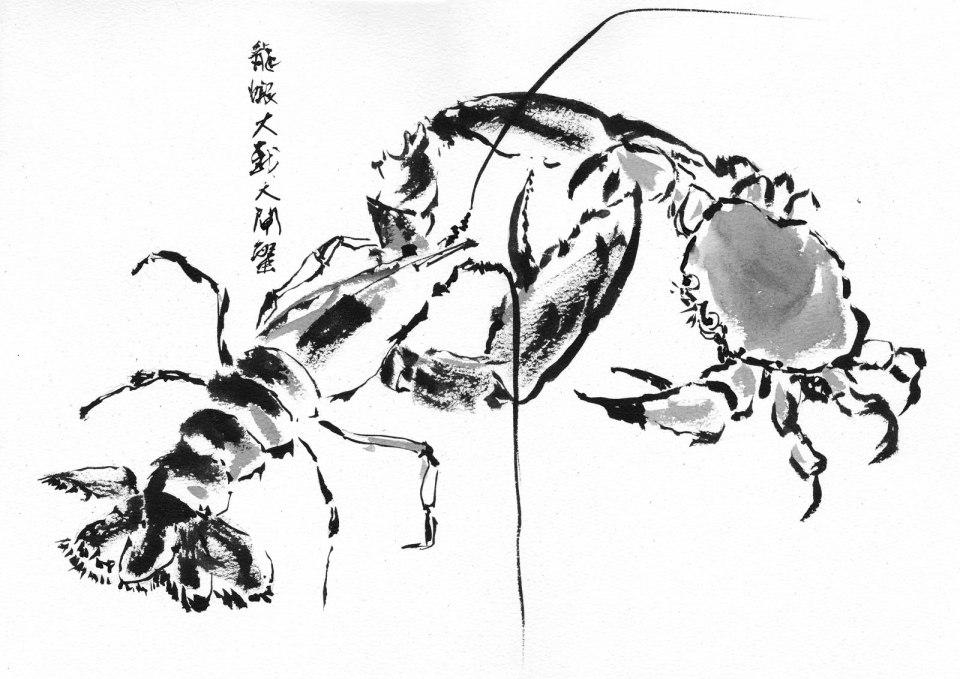 《龍蝦大戰大閘蟹》(課堂示範)水墨 36cm x 25cm 16-9-2021