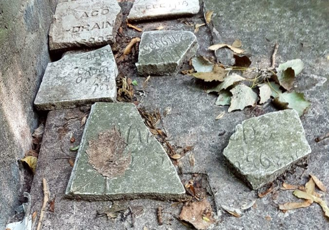 Broken tombstones from a small Jewish cemetery in Babi Yar