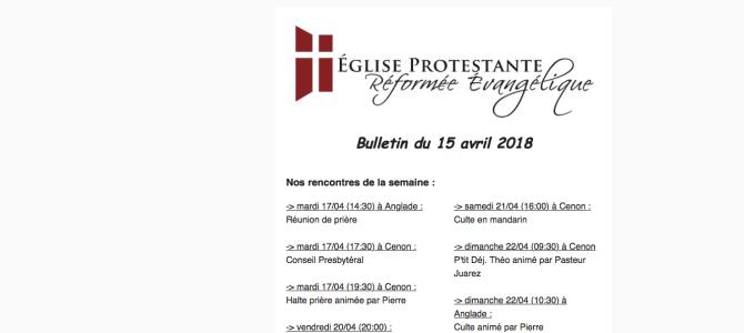 Bulletin du 15 avril 2018