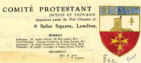 © FCPL-SHPF, Free French Protestant insignia and coresspondance related to the Comité d'action et d'Entraide, Pastor Frank Christol