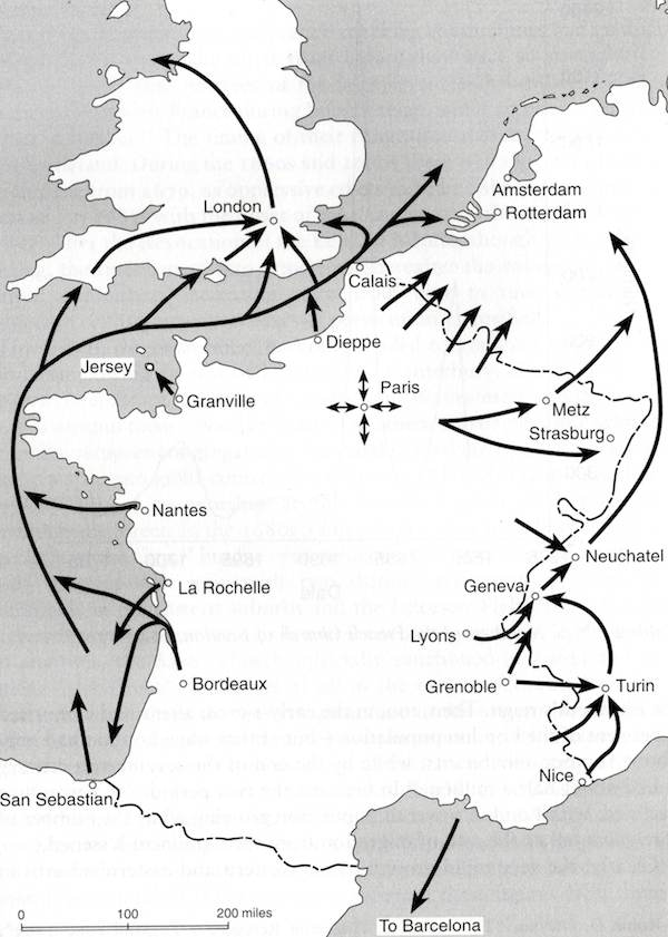 Huguenot refuge major routes © Robin Gwynn, Huguenot Heritage, 2000
