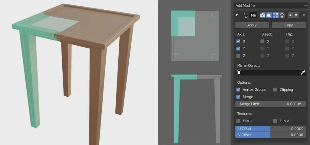 interior design mirror modifier in blender egneva designs