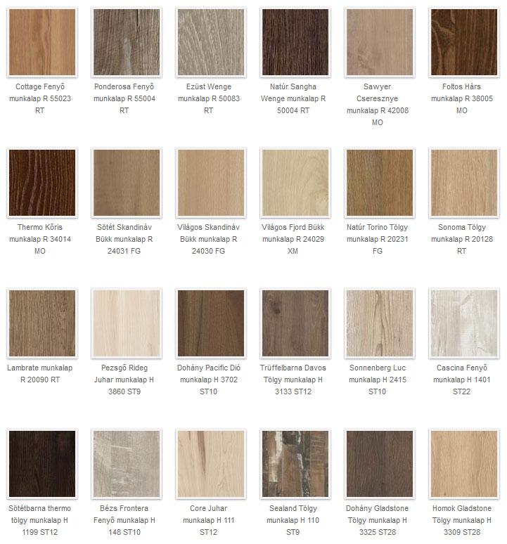 Fa színű, fa erezetes konyhai munkalap színek