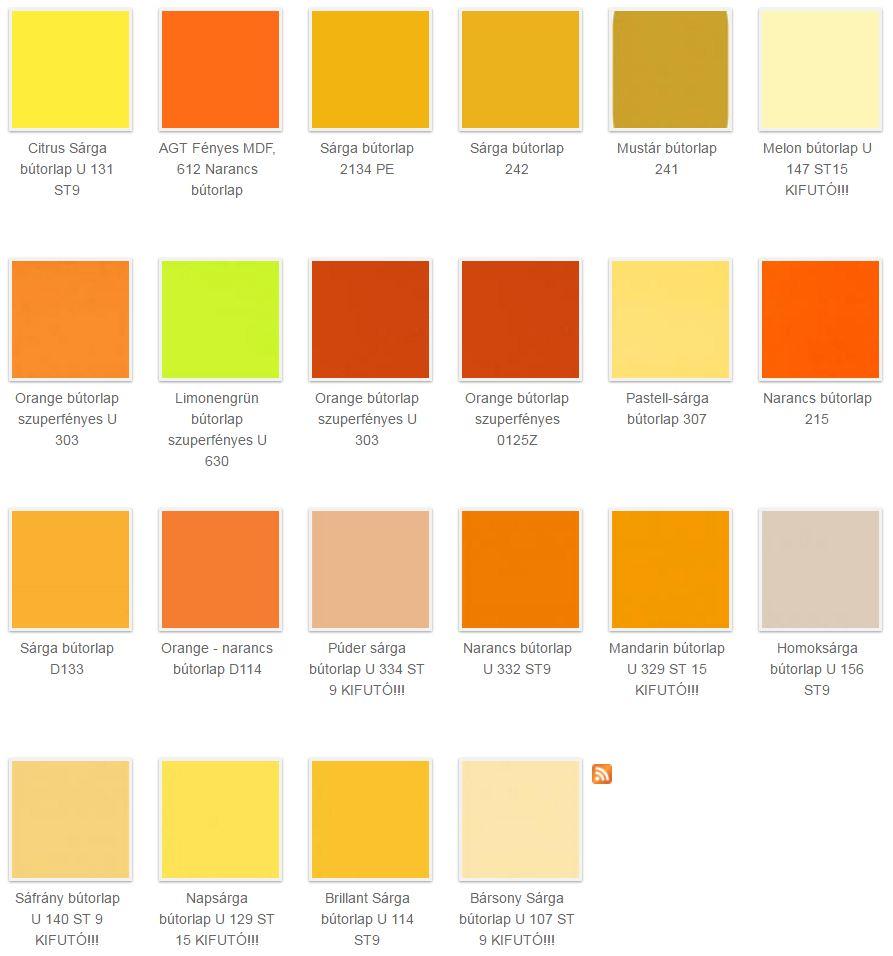 sárga bútorlap színek