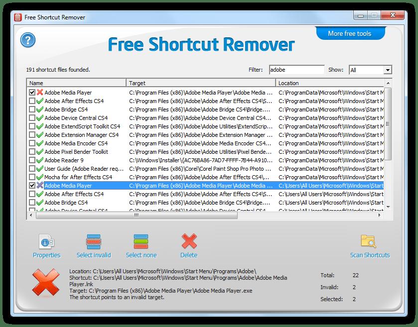 برنامج Free Shortcut Remover للتخلص تماما من فايروس شورتكت