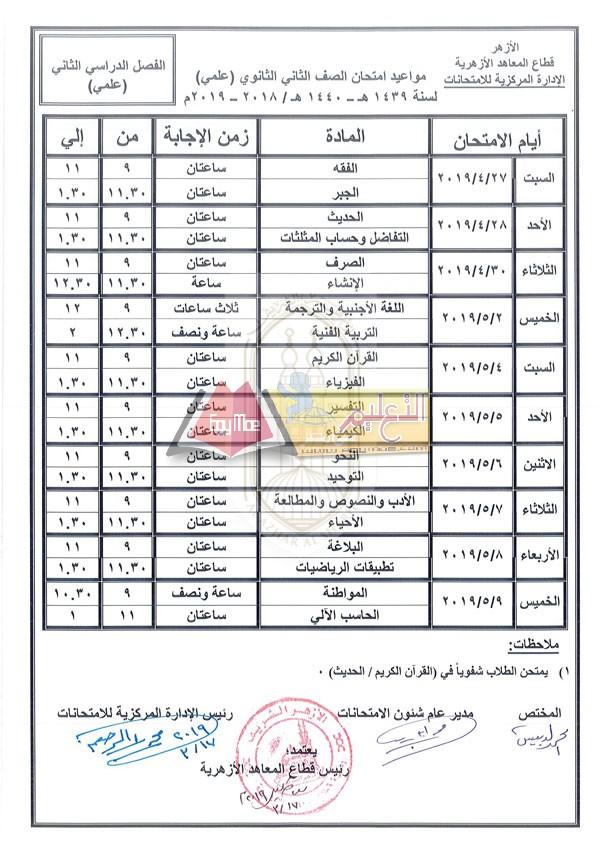 ننشر جدول امتحانات صفوف النقل بالمعاهد الأزهرية الثانوية الترم