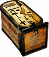 A Cartouche shaped box found in King Tut's tomb.