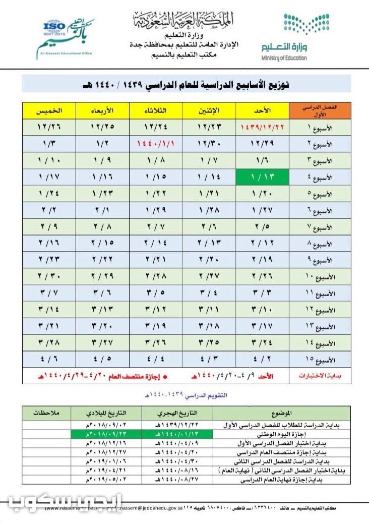 توزيع الاسابيع الدراسية 1439 وفق المنهج الدراسي ومواعيد الاجازات