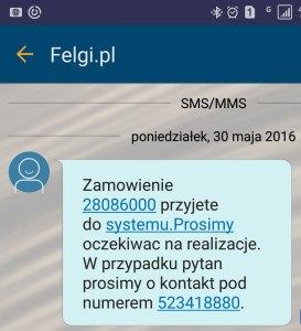 SMS potwierdzający zamówienie