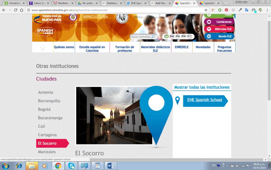 La EHE Spanish School en el portal de SpanishinColombia