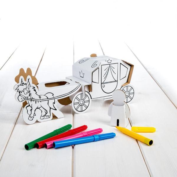 carruagem com cavalo, da Calafant, com 6 canetas, para montar e colorir.