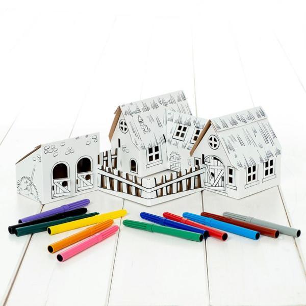 Quinta para montar e pintar. 12 canetas incluidas, da Calafant. Em cartão