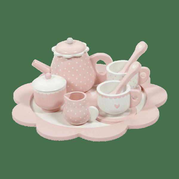 serviço de chá em madeira - rosa