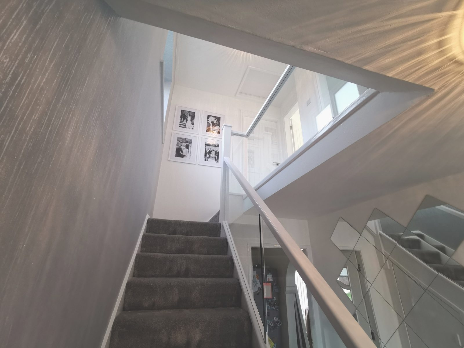 White Staircase Embedded Glass Edwards Hampson   White Wood And Glass Staircase   Design   70'S   Thick Solid Oak Stair   Bannister   Indoor Glass