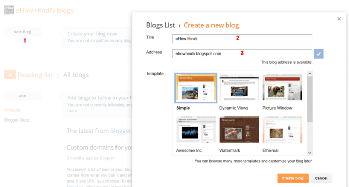 Create blog in blogger
