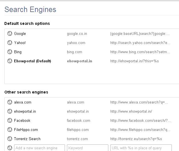 Restore Google Search Engine Chrome