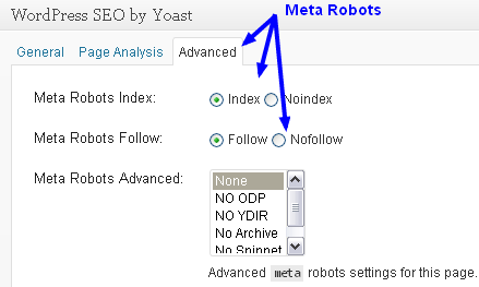 Meta Robots on past pages