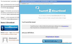 Setup Tweet to download system for WordPress blog