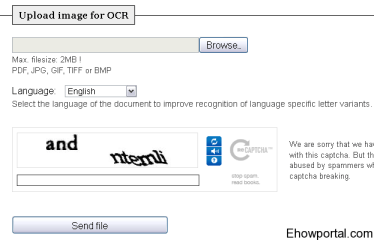 Image to text conversation with free-ocr.com