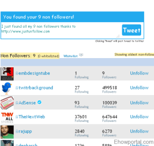 JustUnfollow - Find and unfollow twitter users who unfollowed me