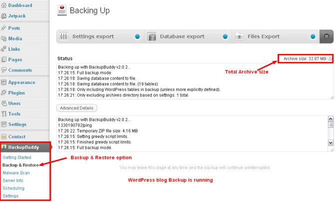 BackupBuddy Backup WordPress blog