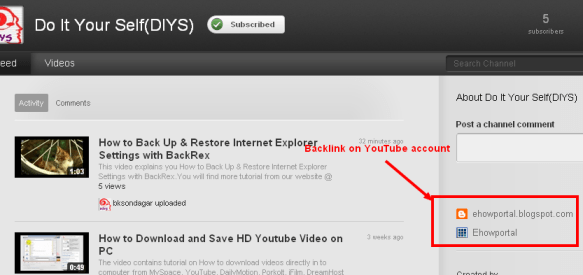 Get Backlink from YouTube account