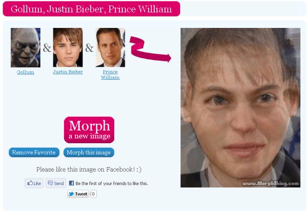 Gollum, Justin Bieber, Prince William Morphed image