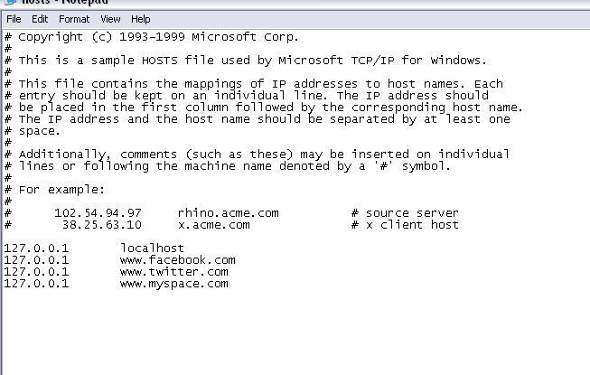 Block website using host file
