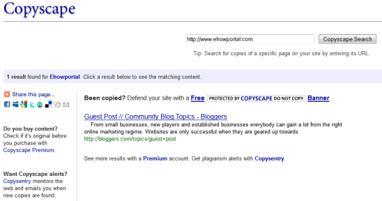 Copyscape search results