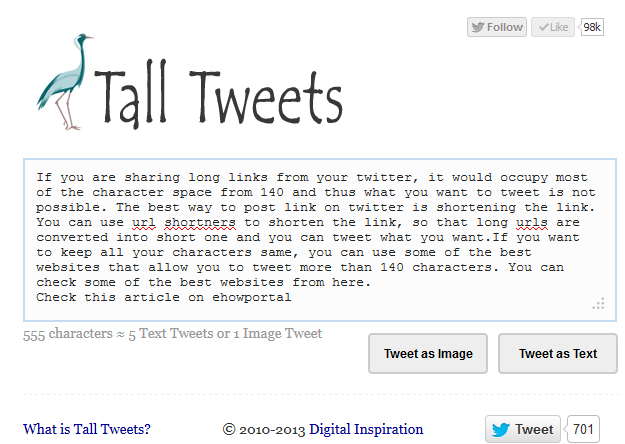 Tall Tweets: Write Tweets Longer than 140 Characters