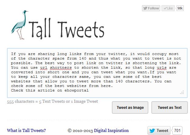 Tall Tweets: Write Tweets Longer than 140 Characters