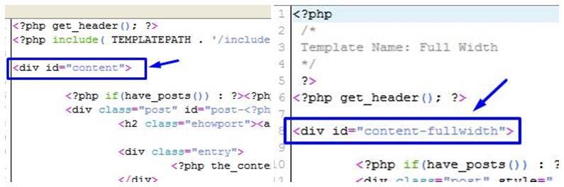 Replacing Div id For Full Width WordPress Template