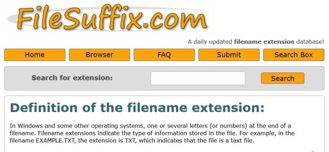 FileSuffix.com the Filename Extension Database