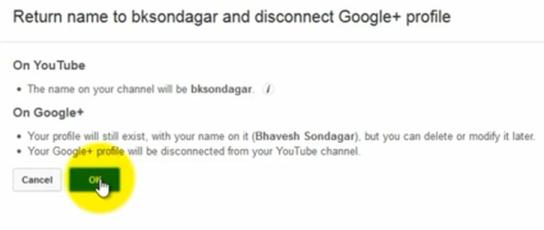 Dissconnect Google+ Profile & Rename YouTube Channel