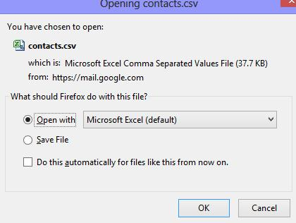 Downloading All Contacts from Gmail