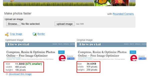 Original Image vs Optimized for Web Image