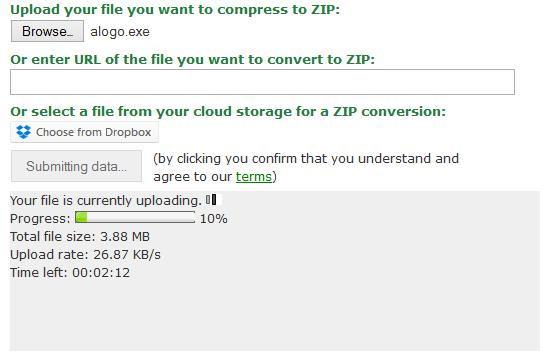 File Uploading - Online Data Compressor Tool