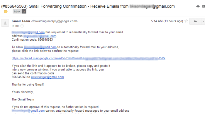 Gmail forwarding Confirmation
