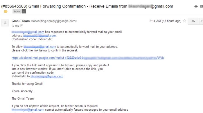 Gmail forwarding Confirmation